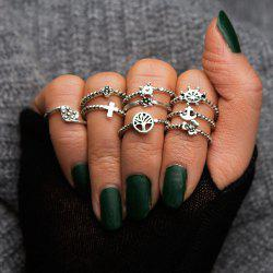 Antique Silver Color With Flower Cross Heart Star Ring 9PCS/Set -
