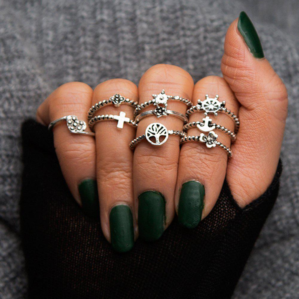 Hot Antique Silver Color With Flower Cross Heart Star Ring 9PCS/Set