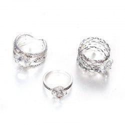 Fashion Design  Rings  Women  Color Round Crystal Ring 3PCS -