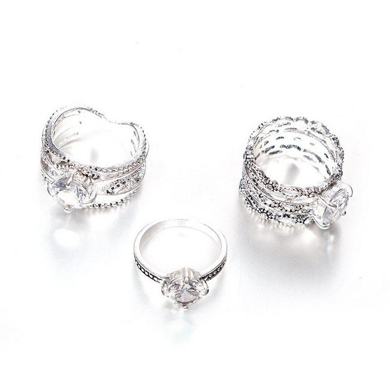 Outfit Fashion Design  Rings  Women  Color Round Crystal Ring 3PCS