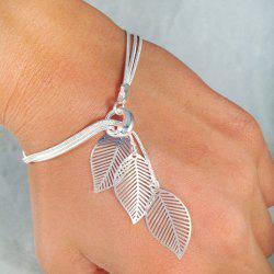 Gold Silver Color Chain With Leaf Charm Bracelets -