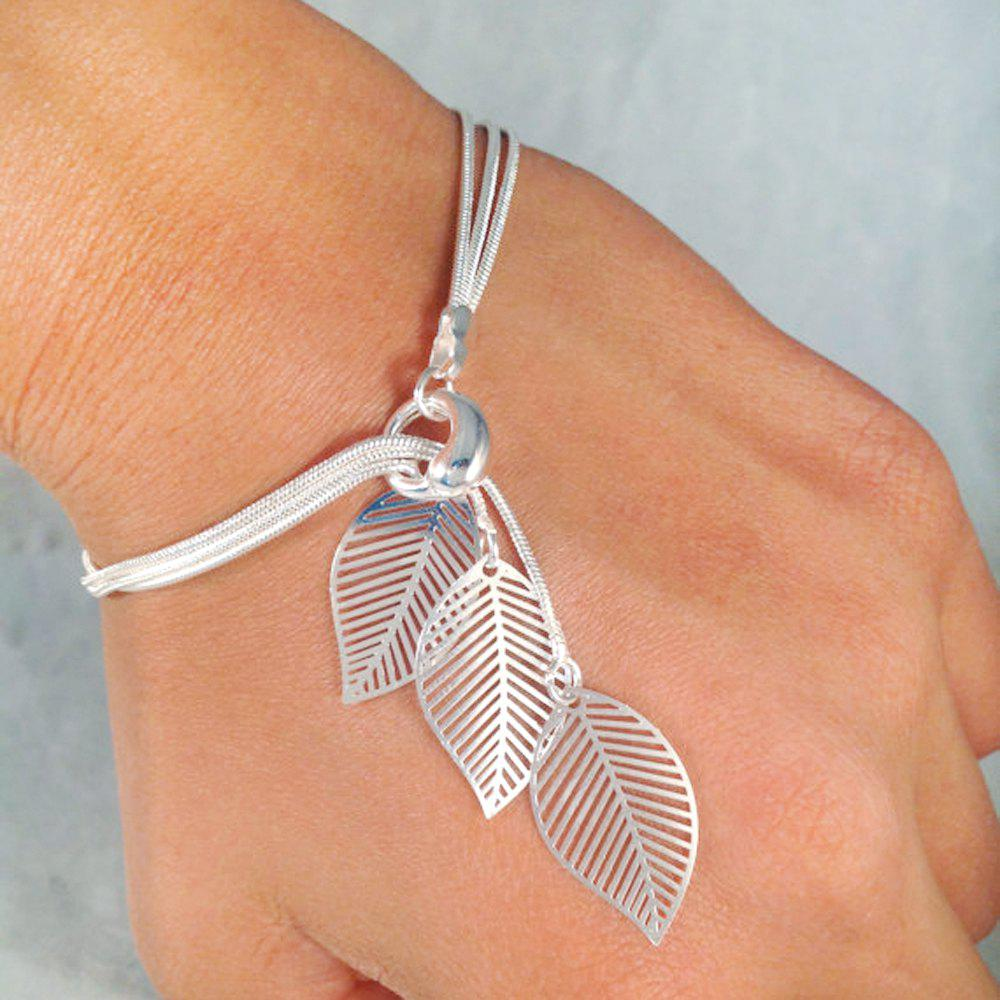 Outfit Gold Silver Color Chain With Leaf Charm Bracelets