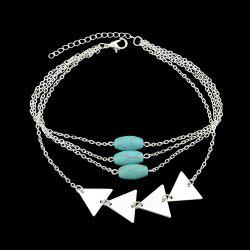 Gold Silver Color Chain With Blue Beads Arm Bracelet -