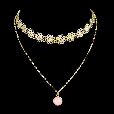 Gold Silver Color With Pink Stone Flower Chain Necklace