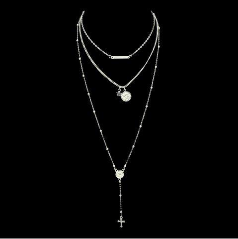 Silver Color Chain with Star Round Cross Necklace