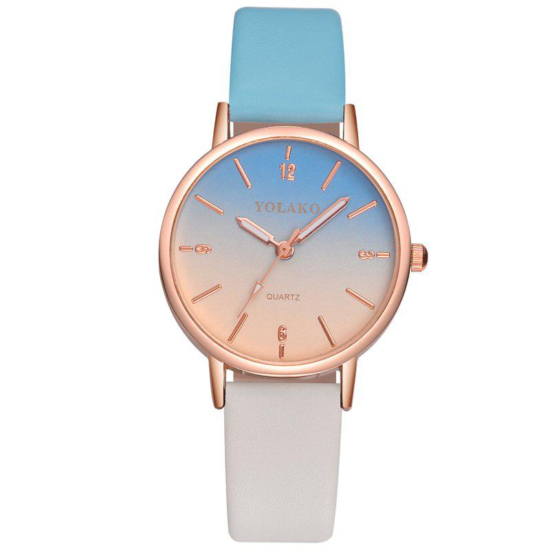 Best New Fashion Ladies Simple Leather Strap with Gradient Surface Quartz Watch