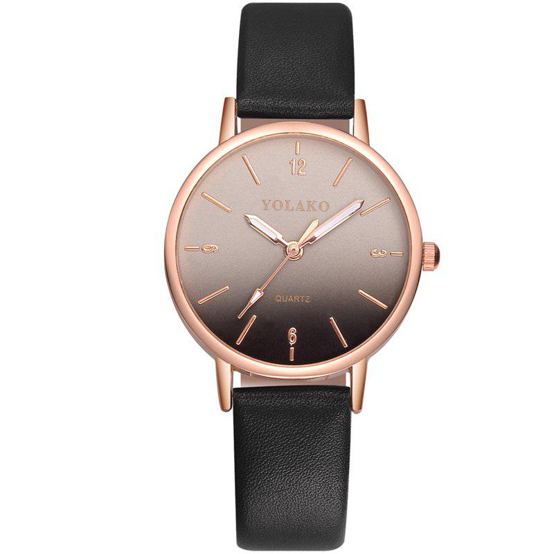 New New Fashion Ladies Simple Leather Strap with Gradient Surface Quartz Watch