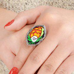 Antique Silver Color With Colorful Embroidery Fish Ring -