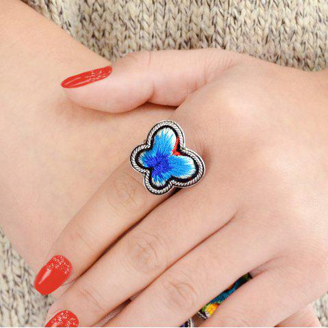 Antique Silver Color With Embroidery Flower Butterfly Ring