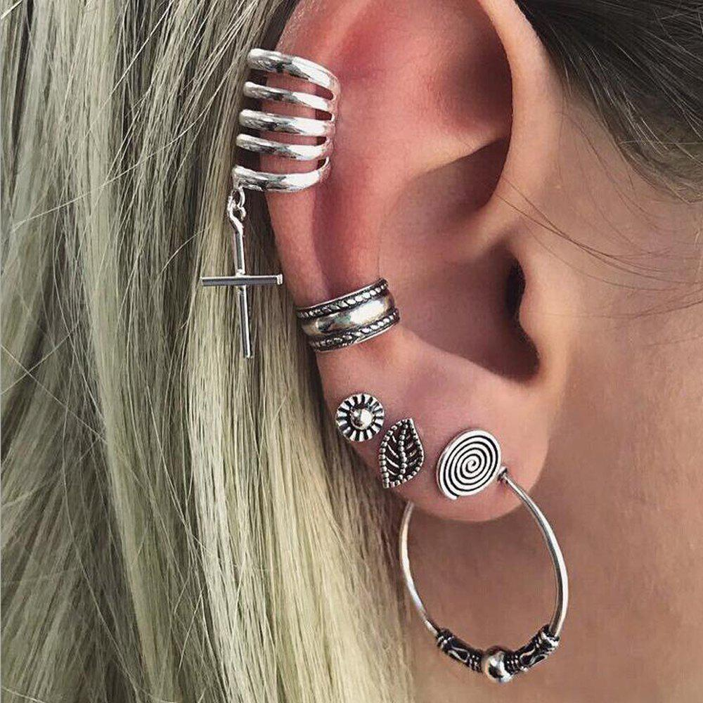 Outfit Antique Silver Circle Hoop Ear Cuff  6PCS/Set