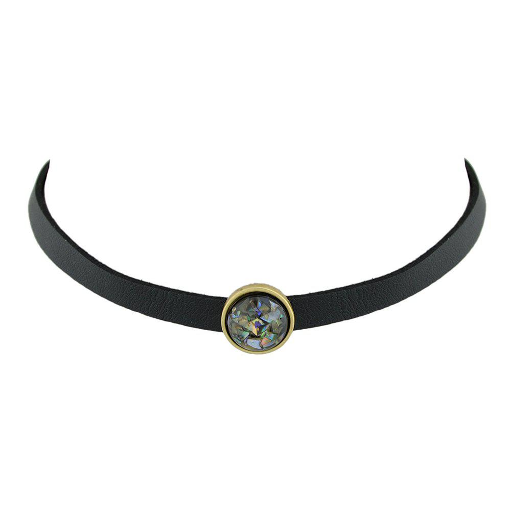 Chic Black Pu Leather Choker Necklace with White Black Beads