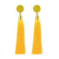 Gold-Color With Colorful Rhinestone Flower Tassel Drop Earring -