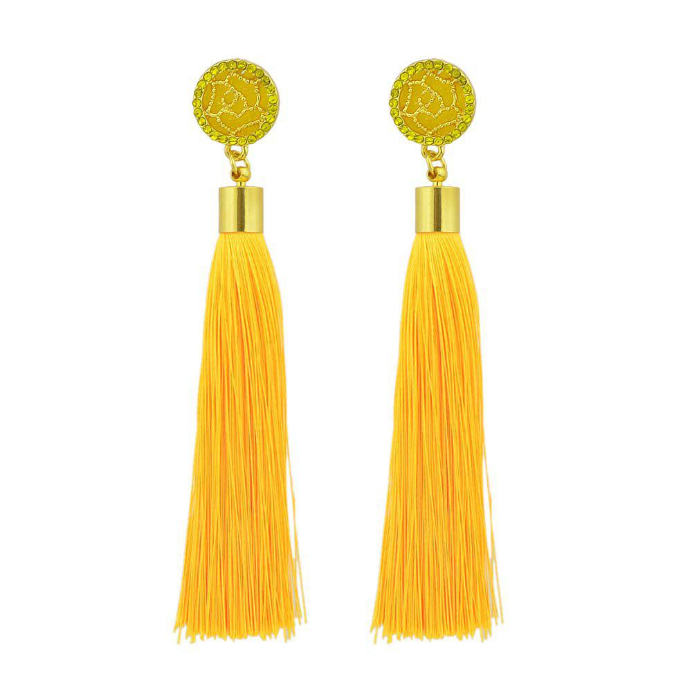 Latest Gold-Color With Colorful Rhinestone Flower Tassel Drop Earring