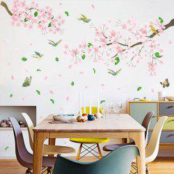Pink Flowers And Birds Removable PVC Window Film Wall Stickers 2PCS -