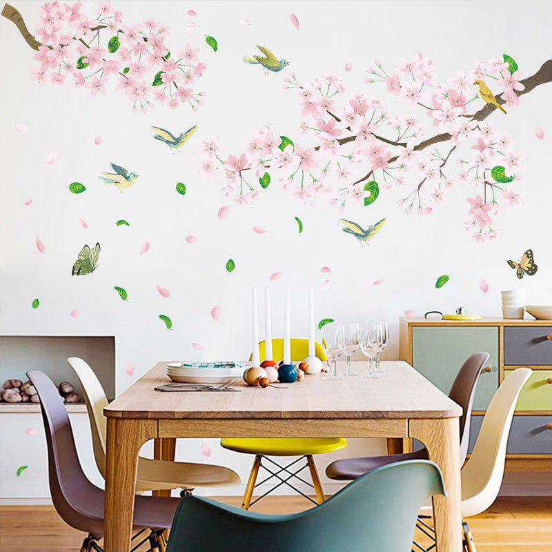 New Pink Flowers And Birds Removable PVC Window Film Wall Stickers 2PCS