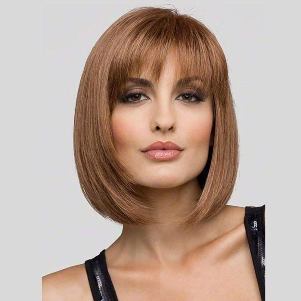 Cheap Fashion Intellectuality Woman Light Brown Hair High Temperature Synthetic Wig
