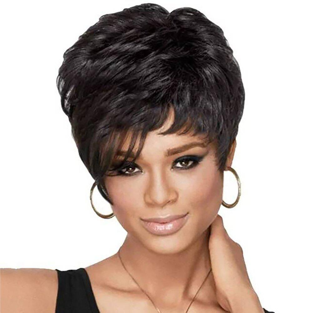 Online Fashion Sexy Lady Black Short Hair High Temperature Synthetic Wig