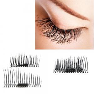 4pcs 3D Magnetic False Eyelashes Natural Soft Makeup Reusable Magnet Extension - NOIR B