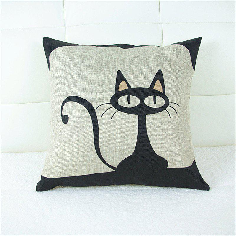 Cartoon Cat Pattern Linen Pillow Case Decorative PillowcaseHOME<br><br>Color: BLACK; Category: Pillow Case; Material: Cotton Linen; For: All; Occasion: Bar,KTV,Living Room,Bedroom; Type: Novelty,Fashion,Decoration;