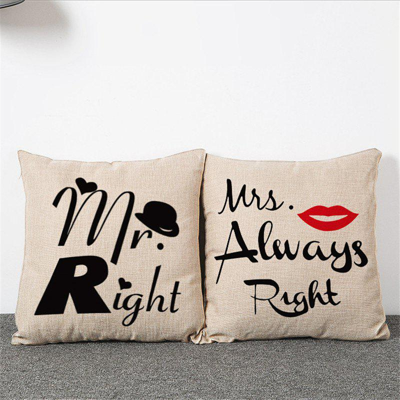 2PCS Mr. Mrs Pattern Linen Pillow Case Decorative PillowcaseHOME<br><br>Color: BEIGE; Category: Pillow Case; Material: Cotton Linen; For: All; Occasion: Bar,Bedroom,KTV,Living Room; Type: Decoration,Fashion,Novelty;