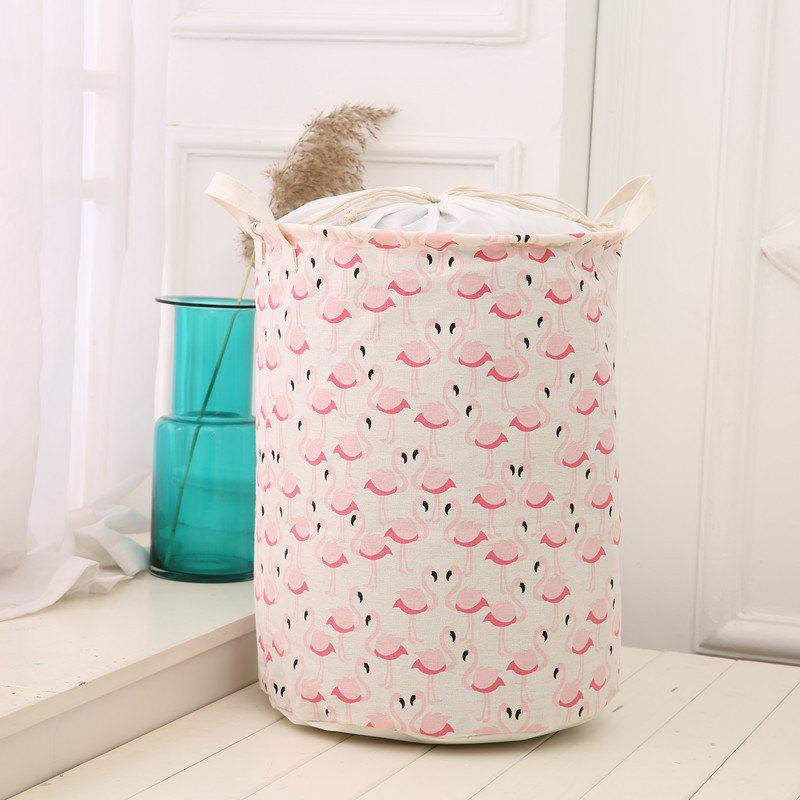 Flamingo Waterproof Linen Folding Storage Basket Dirty Clothing Laundry BucketHOME<br><br>Color: PINK; Types: Storage Baskets; Functions: Home,Bathroom,Bedroom; Materials: Canvas; Available Color: Pink;
