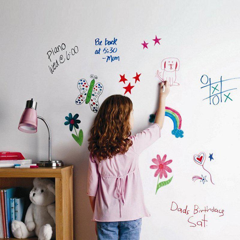 DIY Wall Stickers Removable Washable White Board DecalsHOME<br><br>Color: WHITE; Type: Blackboard Wall Sticker; Subjects: Others; Art Style: Plane Wall Stickers; Function: Decorative Wall Sticker; Material: Vinyl(PVC); Suitable Space: Bedroom,Boys Room,Dining Room,Girls Room,Kids Room,Kids Room,Office,Study Room / Office; Quantity: 1;