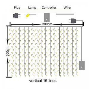 3M x 3M 8-modes 304pcs-Lights String Warm White Decorative Light -