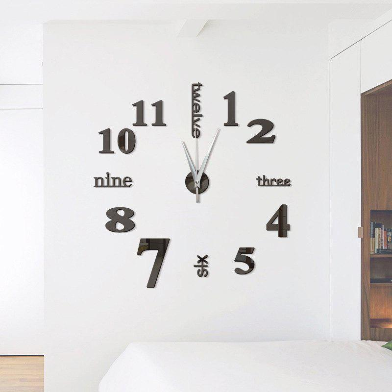 DIY Digit Acrylic Mirror Wall Clock Stickers Home DecorHOME<br><br>Color: BLACK; Type: Wall Clock; Theme: Others; Style: Fashion,Contemporary; Time Display: Analog; Material: Plastic; Powered by: Battery; Shape: Round;