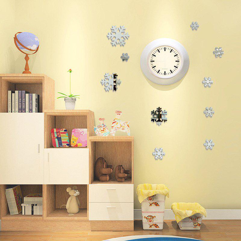 Silver Christmas Diy Snowflakes Mirror Wall Stickers For Wall Decor ...