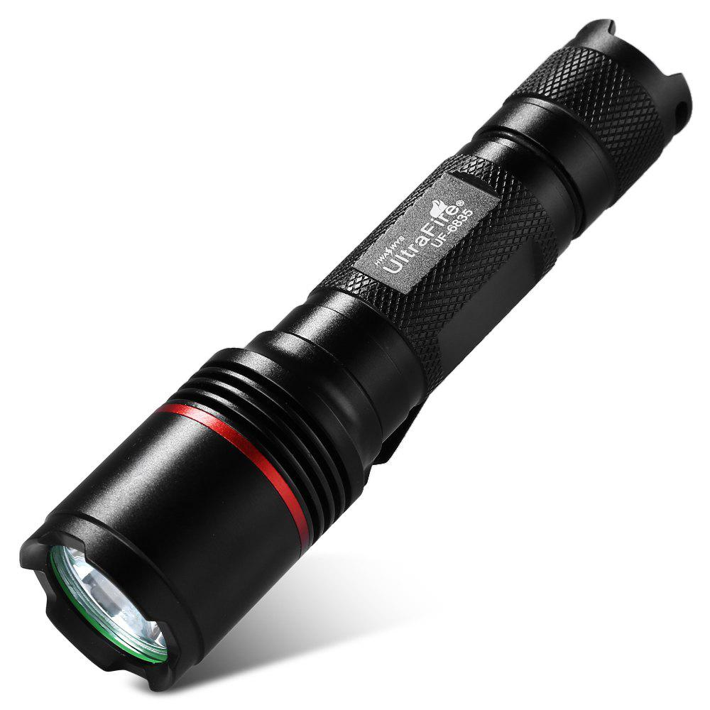UltraFire UF - 6835 XM - L2 5-speed 1000LM Clip Light FlashlightHOME<br><br>Color: BLACK; Model: UF-6835; Color: Black; Flashlight Type: Safety,Spotlight; Flashlight size: Full Size; Emitters: Cree XM-L2; Emitters Quantity: 5 x Cree XM-L2; Lumens Range: 500-1000Lumens; Circuitry: 3.7V; Color Temperature: 6000k-7500k; Feature: Lanyard,Pocket Clip; Function: Bike,Emergency,Exploring,Household Use,Hunting,Night Riding,Seeking Survival,Walking,Work; Switch Location: Tail Cap; Mode: 5(High-Middle-Low-Strobe-SOS); Power Source: Battery; Battery Type: 18650; Battery Quantity: 1; Battery Included or Not: No; Mode Memory: No; Zooming Function: No; Rechargeable: Yes; Waterproof Standard: IPX-4 Standard Water-resistant;