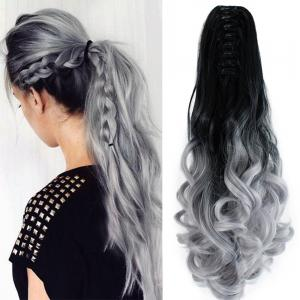 TODO 20 inch Ombre Claw 7-piece 16-clip Synthetic Hair Extensions - GREY+BLACK 20INCH
