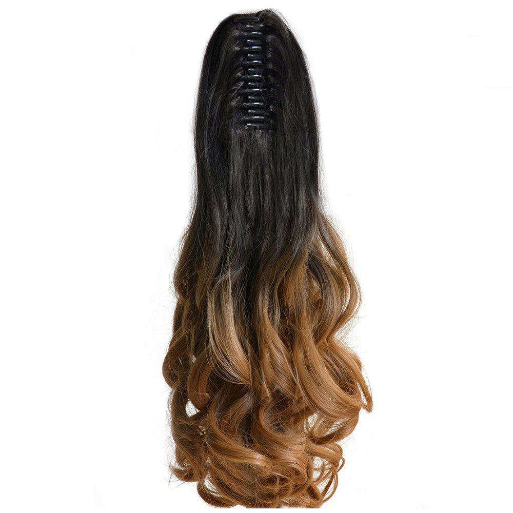 TODO 20 inch Ombre Claw 7-piece 16-clip Synthetic Hair ExtensionsHAIR<br><br>Size: 20INCH; Color: OMBRE 3100B/1001#; Brand: TODO; Type: synthetic hair extension; Wig Length: Medium; Wig Style: Body Wave,Bouncy Curly,Natural Wave,Water Wave; Stretched Length: 20inches; Wig Color: Gray,Multi-color; Material: High Temperature Fiber;
