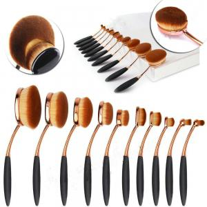 TODO 10pcs All in One Professional Oval Makeup Brushes Tools - ROSE GOLD
