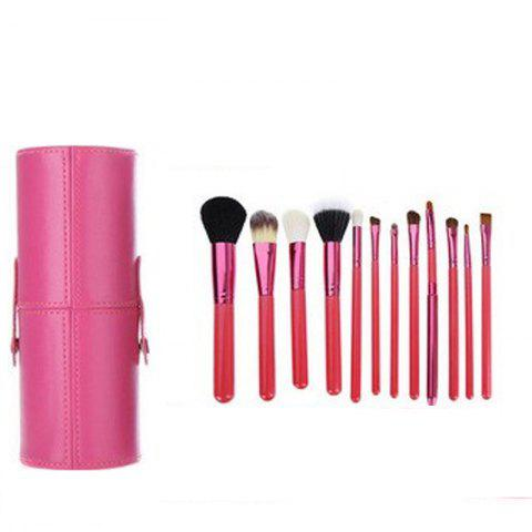 Trendy TODO 12pcs Makeup Brushes Cosmetic Tool with Cup Holder Case - ROSE RED  Mobile