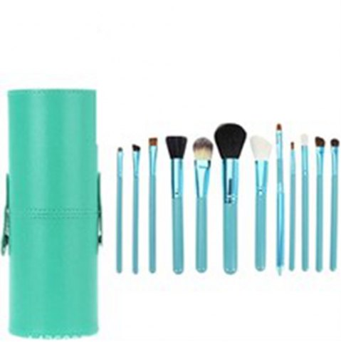 Store TODO 12pcs Makeup Brushes Cosmetic Tool with Cup Holder Case GREEN