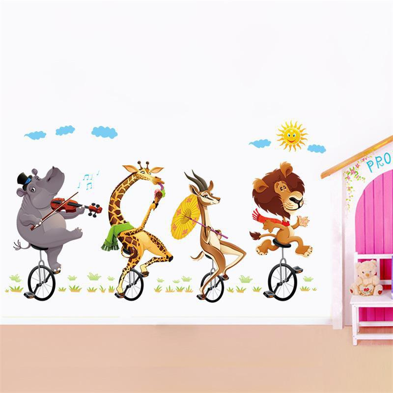 YEDUO Wall Stickers Animal Cycling Cute Cartoon Children Room DecorationHOME<br><br>Color: COLORMIX; Type: Plane Wall Sticker; Subjects: Cartoon,Fashion; Function: Decorative Wall Sticker; Material: Vinyl(PVC); Suitable Space: Bedroom,Boys Room,Game Room,Girls Room,Kids Room,Kids Room,Living Room; Quantity: 1;