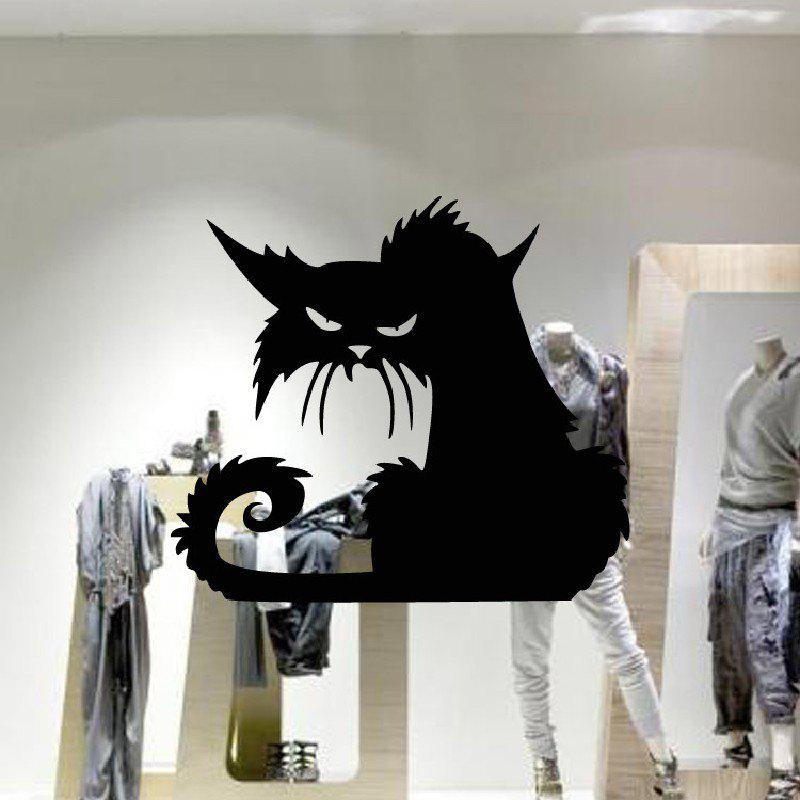 YEDUO 42 x 37cm Halloween Black Cat Window Wall Larger Sticker DecorationHOME<br><br>Color: BLACK; Type: Plane Wall Sticker; Subjects: Holiday,Vintage; Function: Decorative Wall Sticker; Material: Vinyl(PVC); Suitable Space: Bedroom,Cafes,Living Room,Office; Quantity: 1;