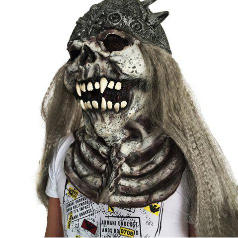 Outfit Scary Long Hair Skull Halloween Mask COLORMIX