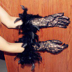MCYH 548 Gothic Midnight Black Party Halloween Long Lace Gloves with Feather - EBONY
