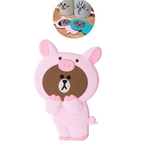 Chic 3D Cartoon Silicone Dinosaur Bear Pig Portable Travel Cosmetic Makeup Mirror