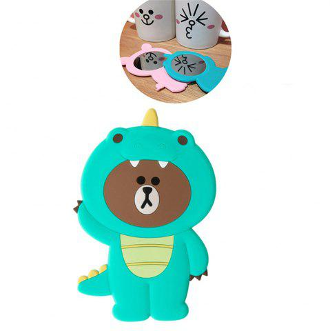 Latest 3D Cartoon Silicone Dinosaur Bear Pig Portable Travel Cosmetic Makeup Mirror GREEN