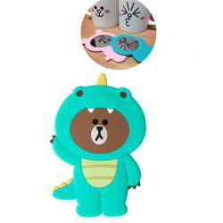 3D Cartoon Silicone Dinosaur Bear Pig Portable Travel Cosmetic Makeup Mirror - GREEN