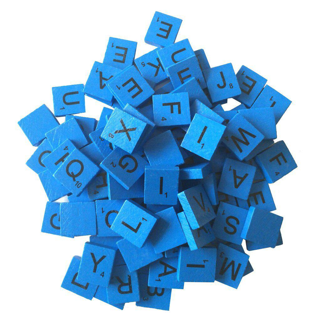 100pcs Wooden Scrabble Tiles Replacement Crafts Weddings ScrapbookingHOME<br><br>Color: BLUE; Material: Wood; For: Kids; Usage: Birthday,Christmas,New Year,Party,Wedding; Package Quantity: Package Contents:100pcs Wooden Letter; Color: Blue;