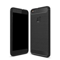 Wkae Solid Color Carbon Fiber Texture TPU Soft Protective Case for HUAWEI P10 Lite -